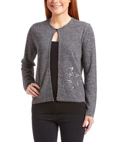 Black & Gray Embroidered Single-Button Cardigan