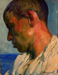 'Study 9' by José Mongrell Torrent (1890–1937) {figurative artist male head profile #impasto man portrait painting}