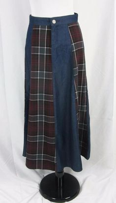 Style J Long Denim Jean Plaid A Line Modest Skirt size 28 8 #StyleJ #ALine