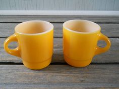 Vintage Fire King Mugs Yellow by lisabretrostyle2 on Etsy, $9.00