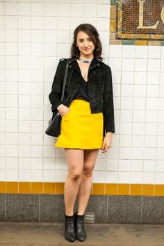 Subway Stalking: Spring Edition! #refinery29  http://www.refinery29.com/nyc-subway-street-style-pictures#slide-16  Name: Jennifer Solorio Job: Freelancer What She's Wearing: H&M shirt and skirt, Insight jacket, Vagabond boots, and a Kate Spade bag. Spotted On: The L trainA miniskirt and leather jacket make for a seamless transition from day to night.