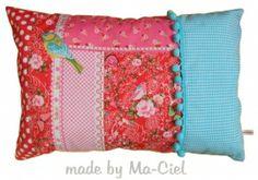 Kussen - Vlinder patchwork! - rood/aqua   Meisjes   Ma-Ciel