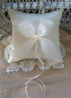 Wedding  Ring Pillow in Ivory Handmade by RoseGardenStitches, $25.00