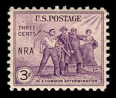 As part of a campaign to engender support for FDR's National Industrial Recovery Act, this stamp featuring American workers was issued.