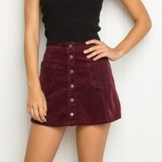 Brandy Melville Button Down Skirt Never worn! Maroon/burgundy color Brandy Melville Skirts Mini