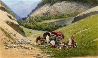 Richard Karlovich Zommer (Russian, 1866–1939) Title: A turkmen family in repose , 1904