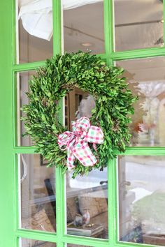 add a pop of GREEN to your door for Christmas!