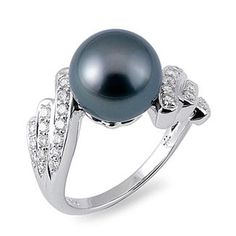 Tahitian Black Pearl Ring with Diamonds in 14K White Gold.