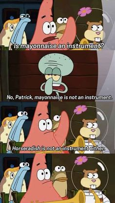 """When Patrick asked the question on every musician's mind. """"25 of The Best Spongebob Quotes"""" Buzzfeed"""