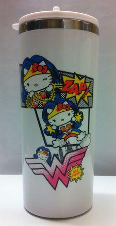 Sanrio DC Comics Hello Kitty Wonder Woman Thermos Tumbler Mug 400ml White New | eBay