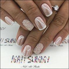 Design de unhas de noiva e casamento fotos de unhas de casamento - Braut Nägel - Bridal nails - Wedding Manicure, Wedding Nails For Bride, Wedding Nails Design, Bride Nails, Wedding Nails Art, Bridal Nail Art, Glitter Wedding Nails, Bridal Toe Nails, Bridal Pedicure