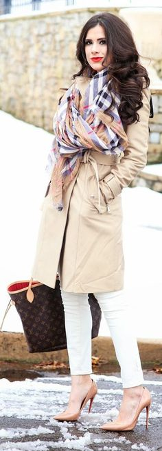 Plaid Scarf On Trench Outfit by The Sweetest Thing