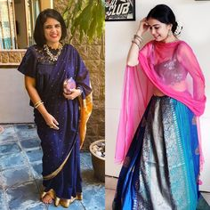 For the festive look that you can totally adapt in Diwali, I opted for a loose drape with a dark top to keep the attention on the saree & accessories. The second look is a neatly pleated saree as a skirt paired with a contrasting dupatta. ✨ #OutfitInspo #OutfitIdeas #styling #Saree #SareeStyles #SareeDraping #SareeIdeas #SareeLove #SareeLover #SareeDraping #SixYards #IndianLook #Diwali #Traditional #Lehenga #SareeAsLehenga #Duppata #Pink #Blue #Fashion Indian Look, Indian Wear, Saree Accessories, Saree Styles, Blue Fashion, Diwali, Lehenga, Pink Blue, Festive