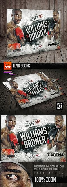 Sports Flyer, Print Format, Flyer Template, Boxing, Brass Knuckles
