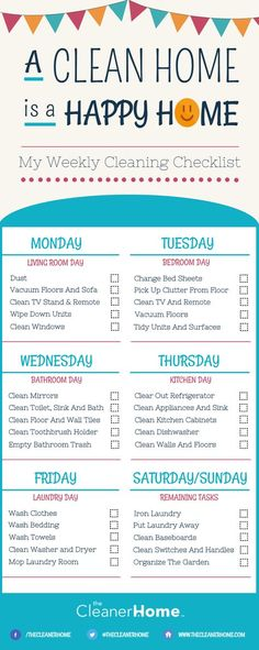 Infographic - TCH USA - My Weekly Cleaning Checklist- August 2016 Wohnung Reinigen Weekly House Cleaning, Weekly Cleaning Checklist, Household Cleaning Tips, House Cleaning Tips, Diy Cleaning Products, Cleaning Solutions, Deep Cleaning, Cleaning Hacks, Cleaning Schedules