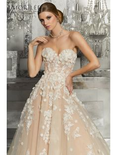 MORI LEE 8171 Meadow Cascading Flowers On Bridal Gown Ivory/Nude