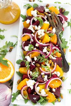 Beet Salad with Goat Cheese and Orange Vinaigrette also has red onion, and a sprinkling of pistachios. This Beet Salad is great on a bed of baby arugula. salad recipe Beet Salad with Goat Cheese and Orange Vinaigrette Roasted Beet Salad, Beet Salad Recipes, Chicken Salad Recipes, Roasted Beets Recipe, Baby Beets Recipe, Golden Beets Recipe, Dinner Salad Recipes, Pickled Beet Salad, Smoothie Recipes