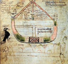 Noah's ark depicted on a 14th century Irish manuscript. The text was compiled by Adhamh O'Cianáin, a scribe whose death is recorded in 1373 AD. The picture is titled 'Denamh na hairce andseo, Sliabh Armenia fuithe', which roughly translates as 'the construction of the Ark with the Armenian mountain below'