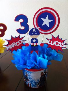 Super Hero 4 Piece Centerpiece Toppers by Getcreativewithkay