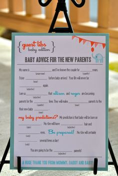 Captivating New   MAD LIBS   BABY Shower Edition   Circus Elephant   Digital File