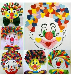Pin by Daisy Beckers on Knutselen carnaval Recycled Crafts, Diy And Crafts, Crafts For Kids, Arts And Crafts, Circus Activities, Activities For Kids, Art Drawings For Kids, Drawing For Kids, Clown Crafts