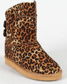 Leopard Round Toe Shearling Vegan Button Bootie