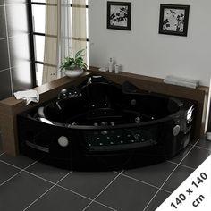 Maeva Black Baignoire Balnéo d'angle whirlpool 39 jets #baignoire #balnéo #salledebain