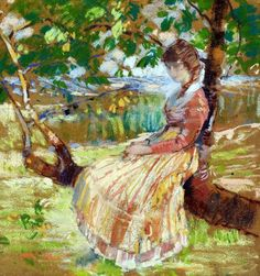Girl Seated On Tree,Karl Albert Buehr