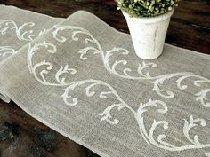 Burlap table runner wedding table runner by HotCocoaDesign on Etsy. Beautiful!