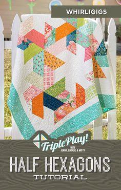 Missouri Star Quilt Tutorials, Quilting Tutorials, Quilting Projects, Quilting Designs, Quilting Ideas, Pinwheel Quilt Pattern, Hexagon Quilt Pattern, Quilt Patterns Free, Easy Quilts