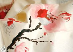classic chinese traditional  water ink brush painted plum and butterfly  twill cotton fabric