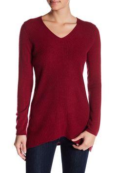 Cashmere Long Sleeve Ribbed V-Neck Sweater