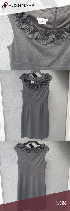"""Classic Professional grey ruffled sheath dress Like new Ruffle neckline Fitted waist with structured pleats and flattering seams Cap sleeves Hidden zip in back 36"""" long Lined on top half Soft Polyester/Rayon/Spandex blend with some stretch Good for teacher, office or smart casual dress environment Size 8  By London Times London Times Dresses"""