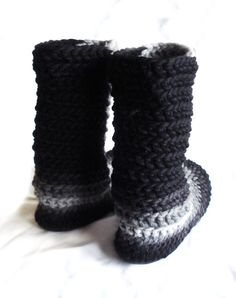 Crochet Slipper Boots with Leather Soles For Women and Men, Top Selling Items…