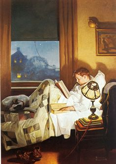 Crackers In Bed by Norman Rockwell, 1921 - a boy reading in bed for a change.