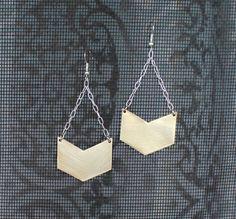 Golden Chevron Earrings Geometric Earrings by MINTJULEPdesign, $52.00