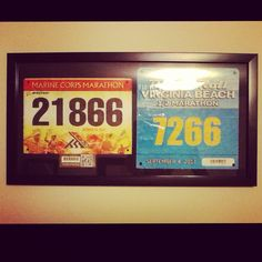 Framed race bibs instead of just throwing them out.