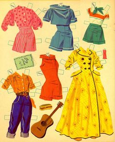 Vintage paper doll clothes from Kathleen Taylor's Dakota Dreams, via Poppytalk Retro Mode, Mode Vintage, Vintage Love, Vintage Stuff, Vintage Photos, Vintage Paper Dolls, Weekend Projects, My Childhood Memories, The Good Old Days