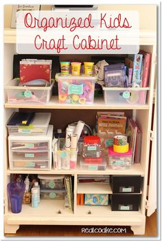Craft Organization of kids craft supplies using printable labels from realcoake.com