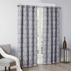 Home Essence Turin Texture Damask Printed Panel, Polyester, Gray