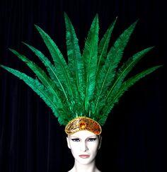 Emerald Green Carnival Feather Headdress Nandu