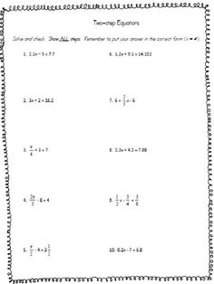 Two Step Algebra Equations Worksheets