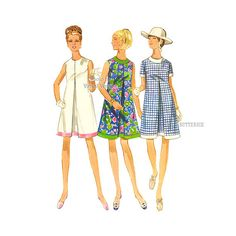 1960s Pleated Dress Pattern, Butterick 4857, Mod Sleeveless A line Dress with Jewel Neckline, Bust 36 Uncut