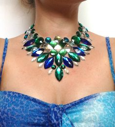 bib indian nekclace rhinestone blue and green bib by BienBijou, $29.00