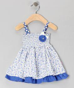 donita - White & Blue Floral Smocked Dress - Infant & Toddler