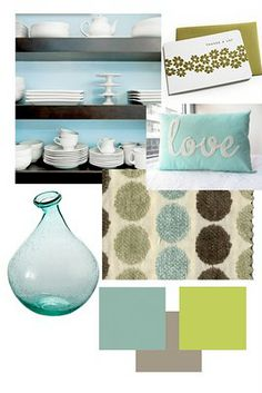 relaxing fall color palette -- blue, brown, white, gray, chartreuse