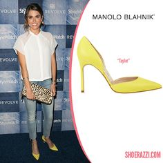 Nikki Reed in Manolo Blahnik Tayler Yellow Leather d'Orsay Pumps - ShoeRazzi