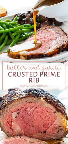 Take a special cut of meat to the next level with the best mouth-watering beef recipe! Butter and Garlic Crusted Prime Rib is a crowd favorite meal that is sure to be a highlight on any occasion. Add this to your dinner menu ideas! Easy Dinner Party Recipes, Meat Recipes For Dinner, Rib Recipes, Steak Recipes, Holiday Recipes, Cooking Recipes, Holiday Meals, Kenyan Recipes, Christmas Recipes