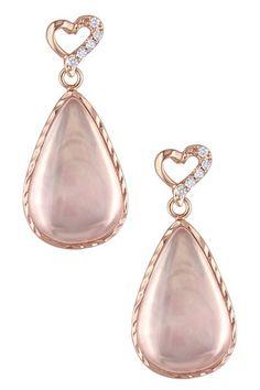 Soft & Sweet: Rose Gold Jewelry  Pear Cut Mada Rose Quartz Drop Earrings