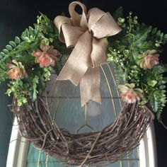 Grapevine wreath with succulant front door by angiespictureframes, $45.00